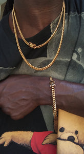 "6MM 14k GOLD PLATED MIAMI CUBAN LINK 2 CHAINS 20"" AND 26"" AND BRACELET"