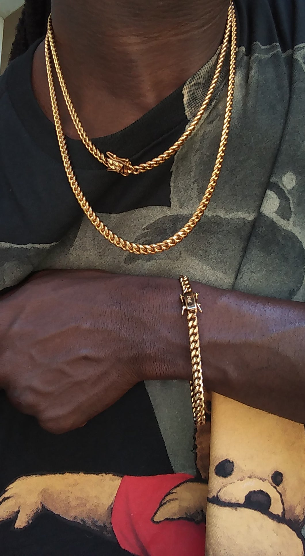 6MM 14k GOLD PLATED MIAMI CUBAN LINK 2 CHAINS 20
