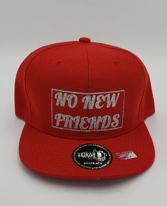 No new friends glitter snapback hat