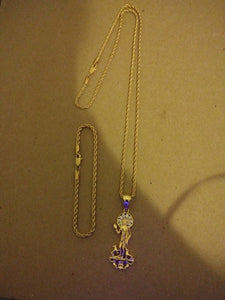 3mm Small Casual Look 14k Gold plated Rope Chain and bracelet with St. Lazarus Gold Filled Pendant