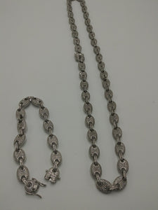 9mm 14k WHITE GOLD PLATED ICED OUT MICRO PAVE GUCCI LINK SET CHAIN AND BRACELET