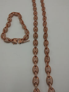 9mm 14k ROSE GOLD PLATED ICED OUT MICRO PAVE GUCCI LINK SET CHAIN AND BRACELET