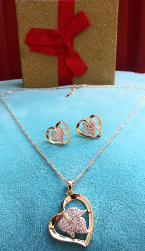 14k Gold Filled Womens Full Set Chain, Heart Charm And Earrings