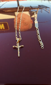 18k Gold Filled Unisex Cross Full Set Chain and Bracelet