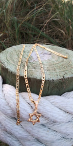 14k gold filled 6mm Star David Figaro chain and bracelet set 24inches