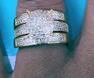 Gold filled Iced out 3 piece Ring with Cz diamonds