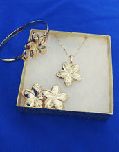 14k Gold Filled Womens Full Set Chain, bracelet flower Charm And Earrings
