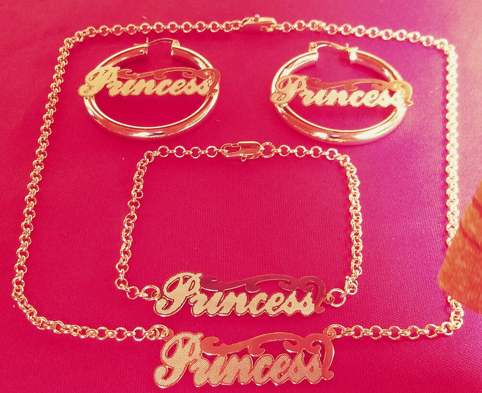 14k Gold Filled Womens Full Set Chain, bracelet Princess Charm And Earrings