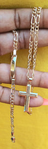18k Gold Filled Full Set Chain cross Pendant and Bracelet