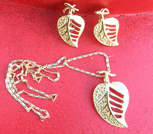14k Gold Filled Womens Full Set Chain, Leaf Charm And Earrings