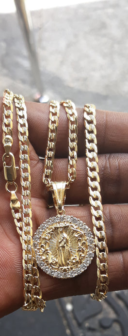 18k Gold Filled 5mm Cuban Link Diamond Cut Chain Bracelet  and Pendant  Set