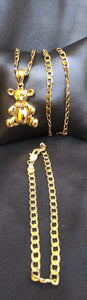 18k Gold Filled bear Full Set Chain and Bracelet