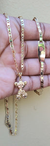 18k Gold Filled bicycle girl Full Set Chain and Bracelet