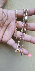 18k Gold Filled Bicycle boy Full Set Chain and Bracelet