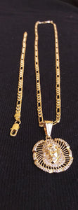18k Gold Filled 6mm Figaro Diamond Cut Chain Bracelet  and Pendant  Set