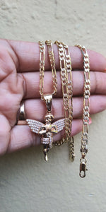 14k gold filled 5mm Angel Figaro chain and bracelet set 24inches