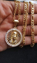 18k Gold Filled 5mm Figaro Diamond Cut Chain Bracelet  and Pendant  Set