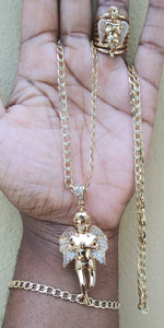 14k gold filled 5mm Diamond cut Angel Cuban link chain ring and bracelet set 28inches