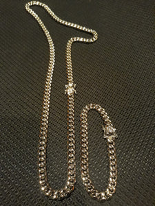 8mm 14k  White gold plated Miami Cuban link set