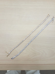 3mm 3 pointer CZ Diamond Tennis Bracelet Gold and White Gold Plated