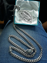 14k White Gold Plated 8mm Cuban Link Chain Pendant and Bracelet  Set