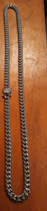 8mm 14k white Gold Plated Miami Cuban Link Chain