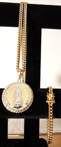 14k gold plated 8mm Cuban link chain and bracelet set