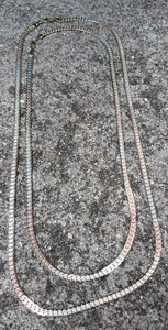 4mm 18k Tri Color Gold Filled Cuban Link Diamond Cut chain
