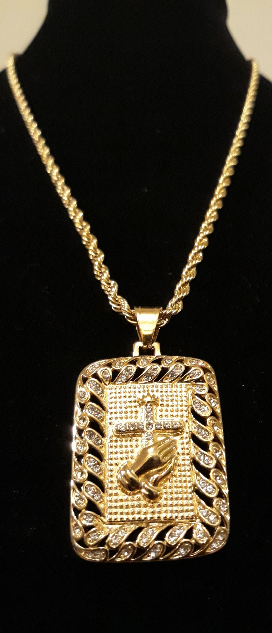 4mm 24inch Gold Plated Rope Chain and Pendant