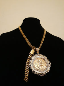 14k gold plated 8mm Cuban link Chain Pendant and Bracelet Set Gold Filled 50 Peso Pendant