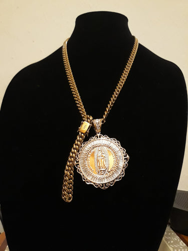 14k gold plated 8mm Cuban link Chain Pendant and Bracelet set Gold Filled Pendant