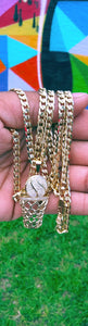 18k Gold Filled 5mm Cuban Link Diamond Cut Chain bracelet and basketball Pendant  Set