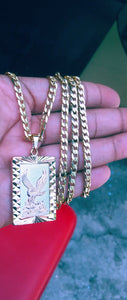 18k Gold Filled 5mm Cuban Link Diamond Cut Chain Bracelet  and Tri colored eagle Pendant  Set