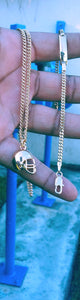 18k Gold Filled Helmet boy Full Set Chain and Bracelet