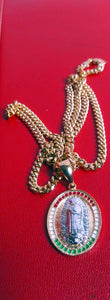 14k Gold Plated 3mm Cuban link chain and pendant  set