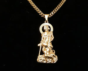 14k Gold plated Saint Lazaro pendant