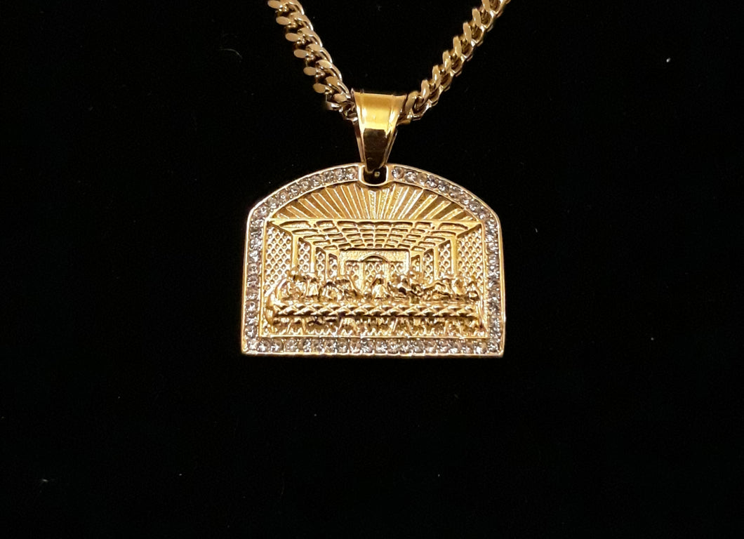 14k Gold plated Last Supper pendant