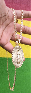18k Gold Filled 5mm Cuban Link Diamond Cut Chain and Pendant  Set