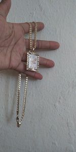 18k Gold Filled 5mm Cuban Link Diamond Cut Chain and eagle Pendant  Set