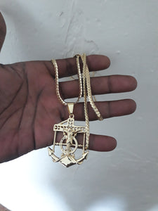 14k Gold Plated 5mm Flat tight Cuban link chain and pendant  set