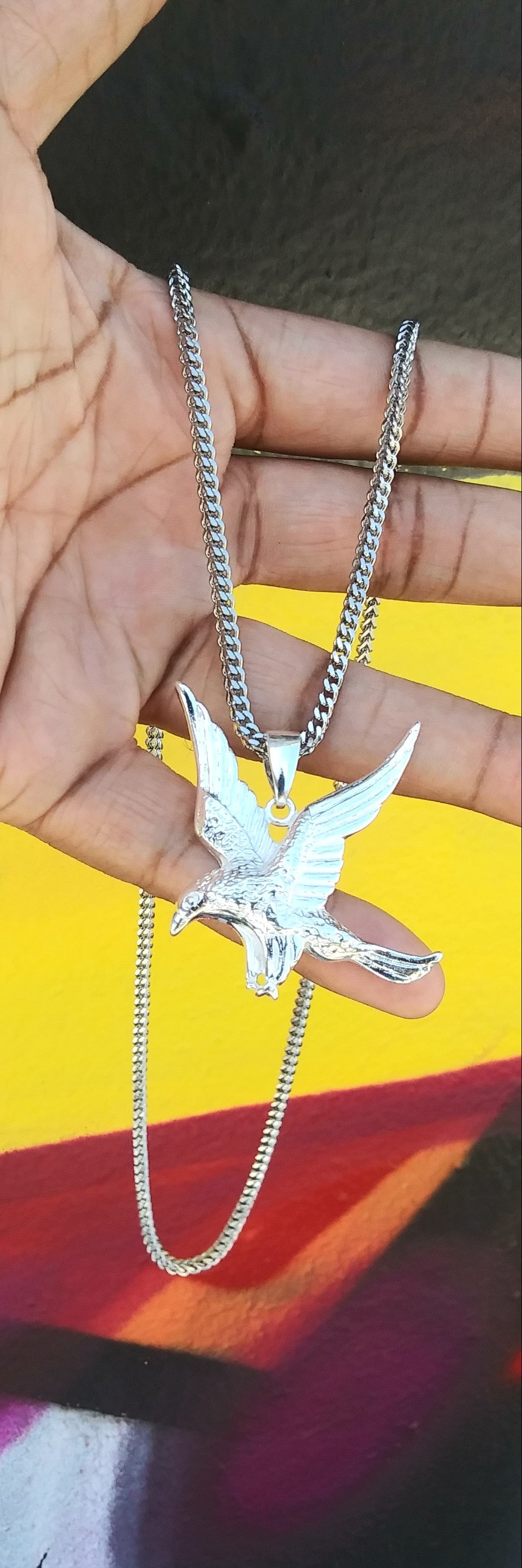 New Arrival 3mm 14k White Gold plated Franco Chain And eagle Pendent Set