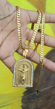 4mm 24inch Gold Plated Flat Cuban link Chain bracelet and Pendant
