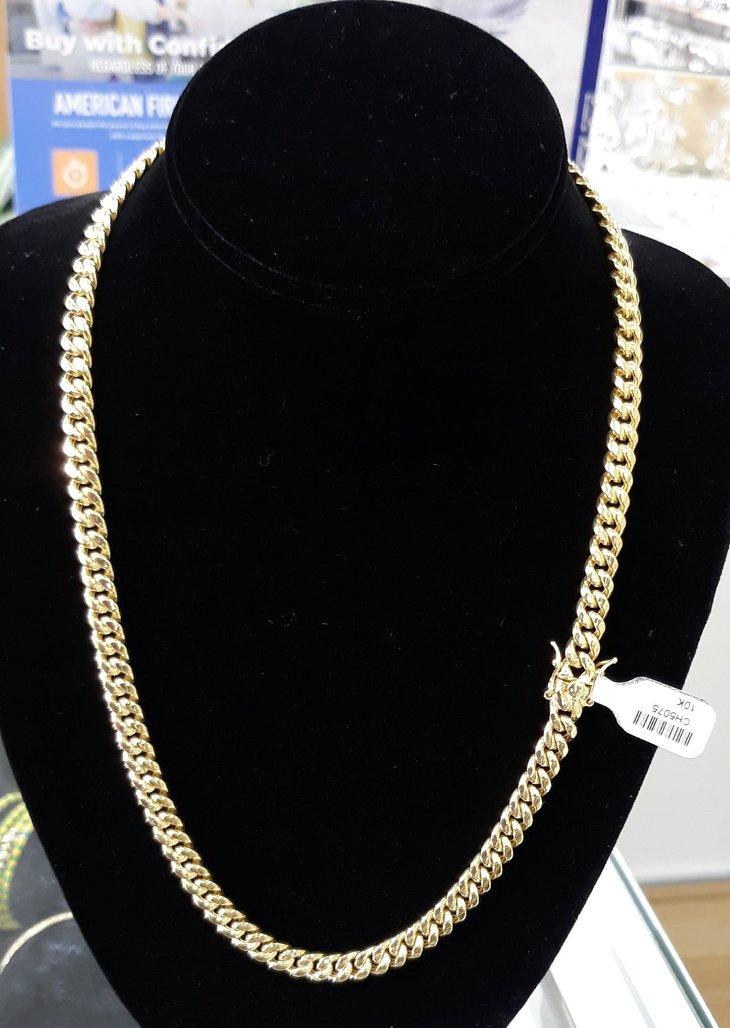 8mm 10k Real Gold Cuban link Hollow Chain 35grams
