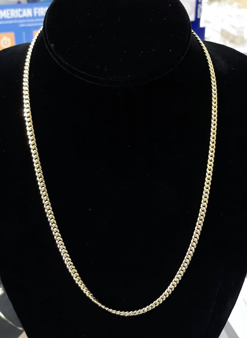 3.5mm...20inch....10k Real Gold Cuban link Hollow Chain 6.5 grams