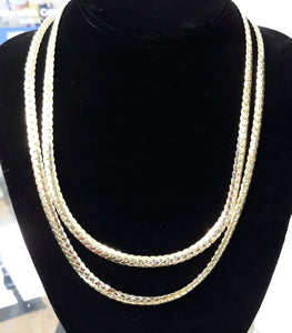 6mm 10k Gold Flat style Cuban Link  2 Chains layer look 18inch 17.7 grams and 22inch 19.5 grams