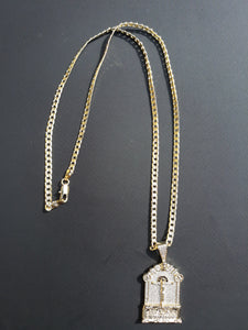 18k Gold Filled 4mm Cuban Link Diamond Cut Chain and pendant  Set