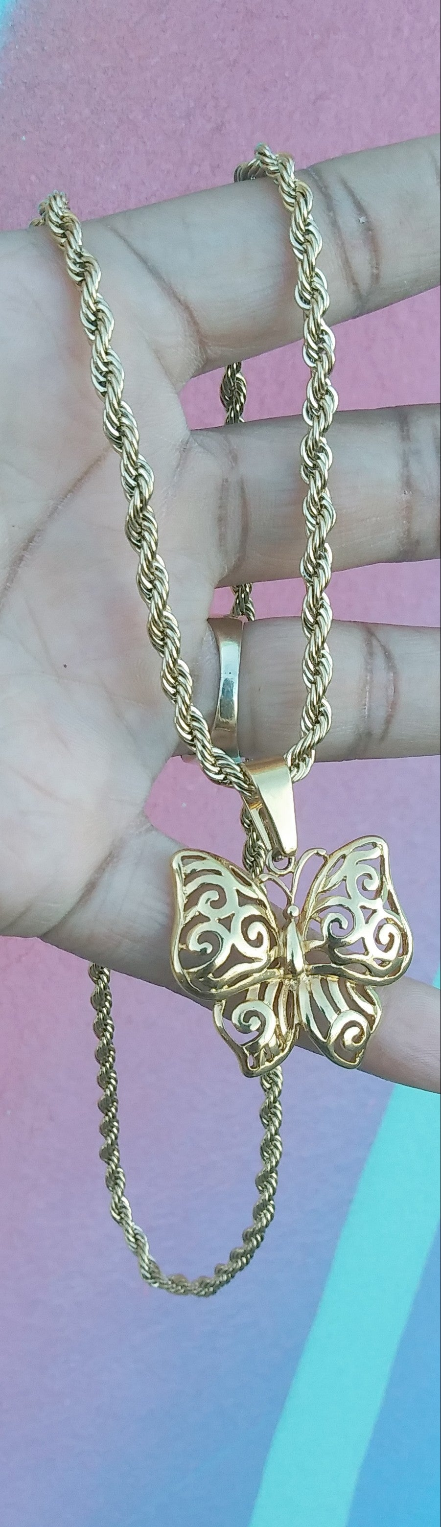 14k Gold Plated 4mm Rope chain and butterfly pendant  set