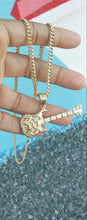 14k Gold Plated 3mm Cuban link chain and guitar pendant  set