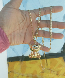 18k Gold plated bear Full Set Chain and Bracelet