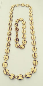 8mm 18k GOLD PLATED GUCCI LINK SET CHAIN AND BRACELET